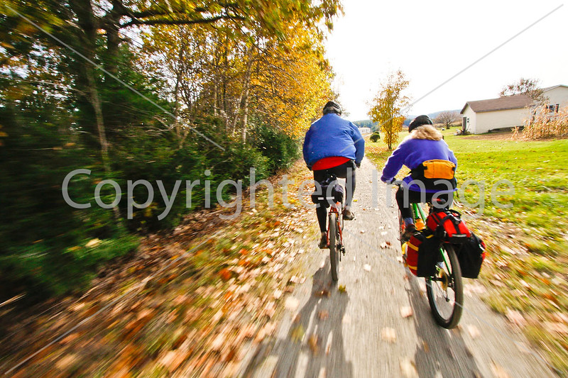 Cyclist(s) on Vermont's Missisquoi Valley Rail Trail - 2 -0302 - 72 ppi