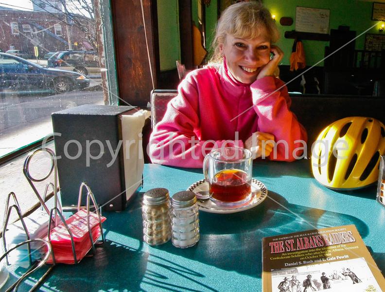 Biker at breakfast in Enosburg Falls, Vermont-C2--0018 - 72 ppi