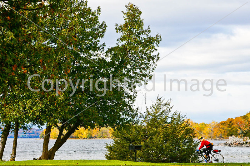 Cyclist at Kill Kare State Park on St  Albans Bay, Vermont-0165 - 72 ppi