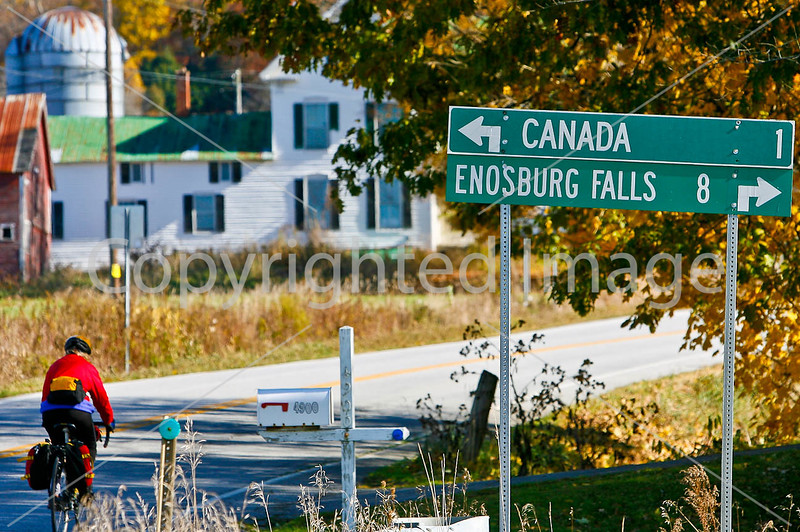 Biker on way to Frelighsburg, Canada, from East Franklin, Vermont-C1--0005 - 72 ppi