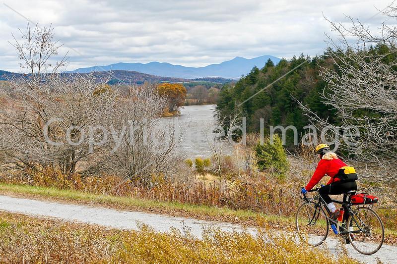 Biker on Confederate bank robbers' trail north of Enosburg Falls, VT-C3--0059 - 72 ppi