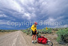 Tourer preparing for rain on Great Divide Trail near South Pass, Wyoming - 1 - 72 ppi