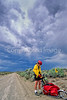 Tourer preparing for rain on Great Divide Trail near South Pass, Wyoming - 3 - 72 ppi