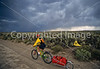 Tourer preparing for rain on Great Divide Trail near South Pass, Wyoming - 7 - 72 ppi