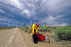 Tourer preparing for rain on Great Divide Trail near South Pass, Wyoming - 6 - 72 ppi