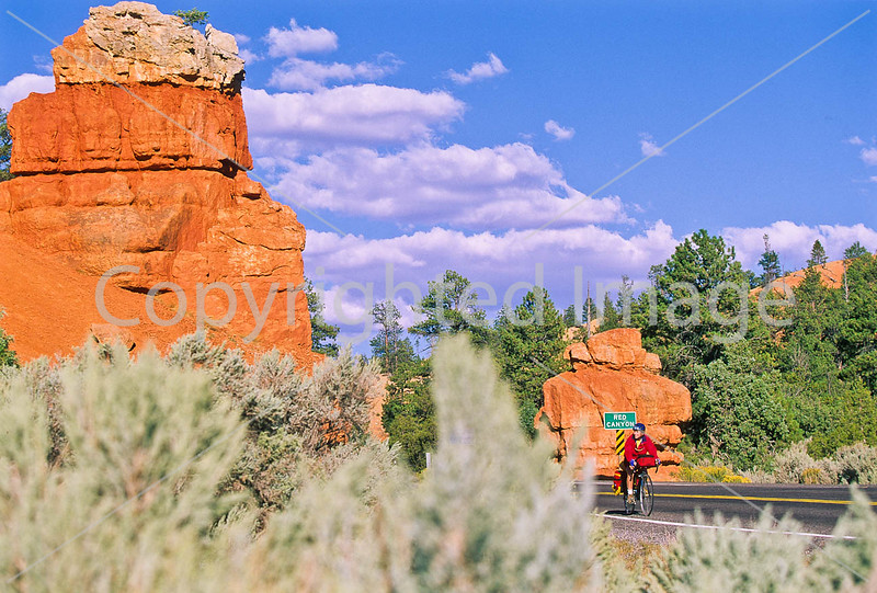Cyclists in Red Canyon near Bryce Canyon Nat'l Park, Utah - 9a - 72 ppi
