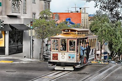 Cable car two blocks from pier 39