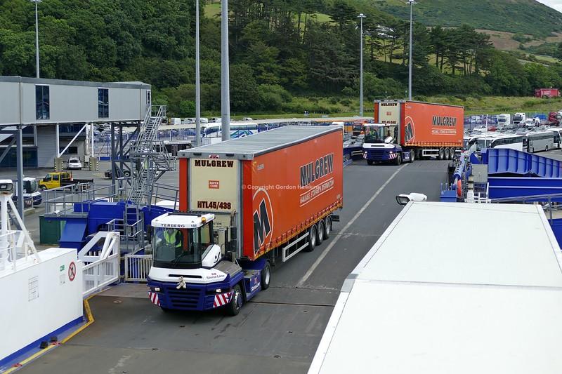 13.8.19. Lorries at Stena line Port of Cairnryan Scotland.