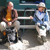 chatting at the hut