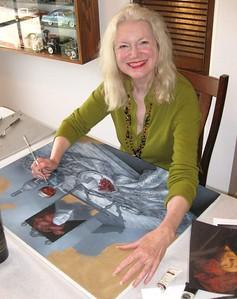Morgan finishing her painting ART OF WINE