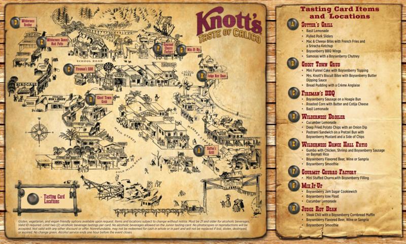 knotts taste of calico 2020 tasting location map