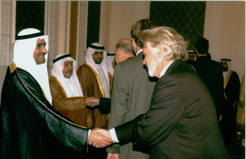 Greeting His Highness Sheikh Hamad Bin Mohammed Al Sharqi Member of the Supreme Council and Ruler of Fujairah on the third day of Eid al-Adha (عيد الأضحى) in his Majlis. 22 December 2007