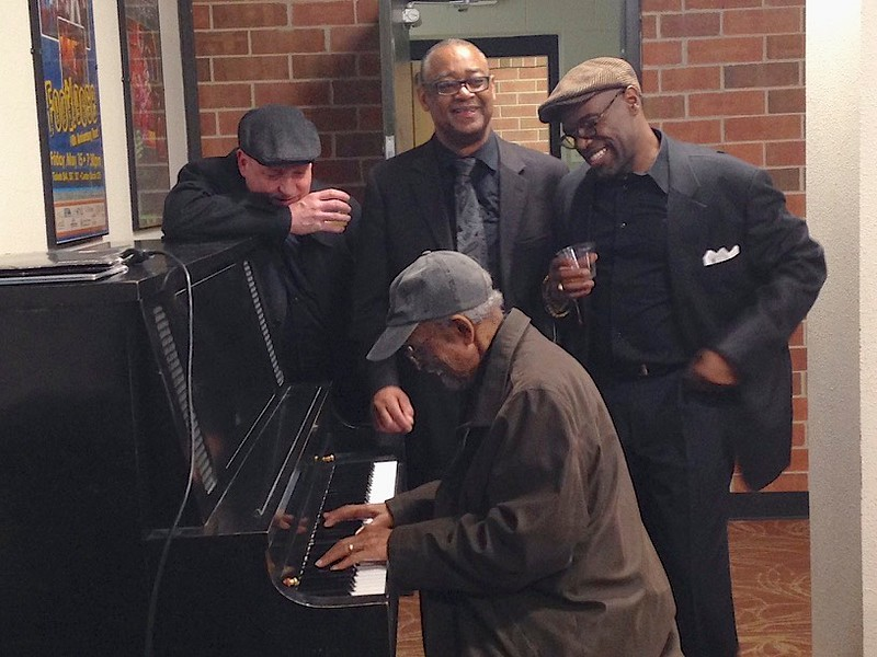 Deda's sister, Terri, captured this moment backstage after these guys from the Dizzy Gillespie All Star Big Band played at (ahem!) Amy's UNC Jazz Festival.