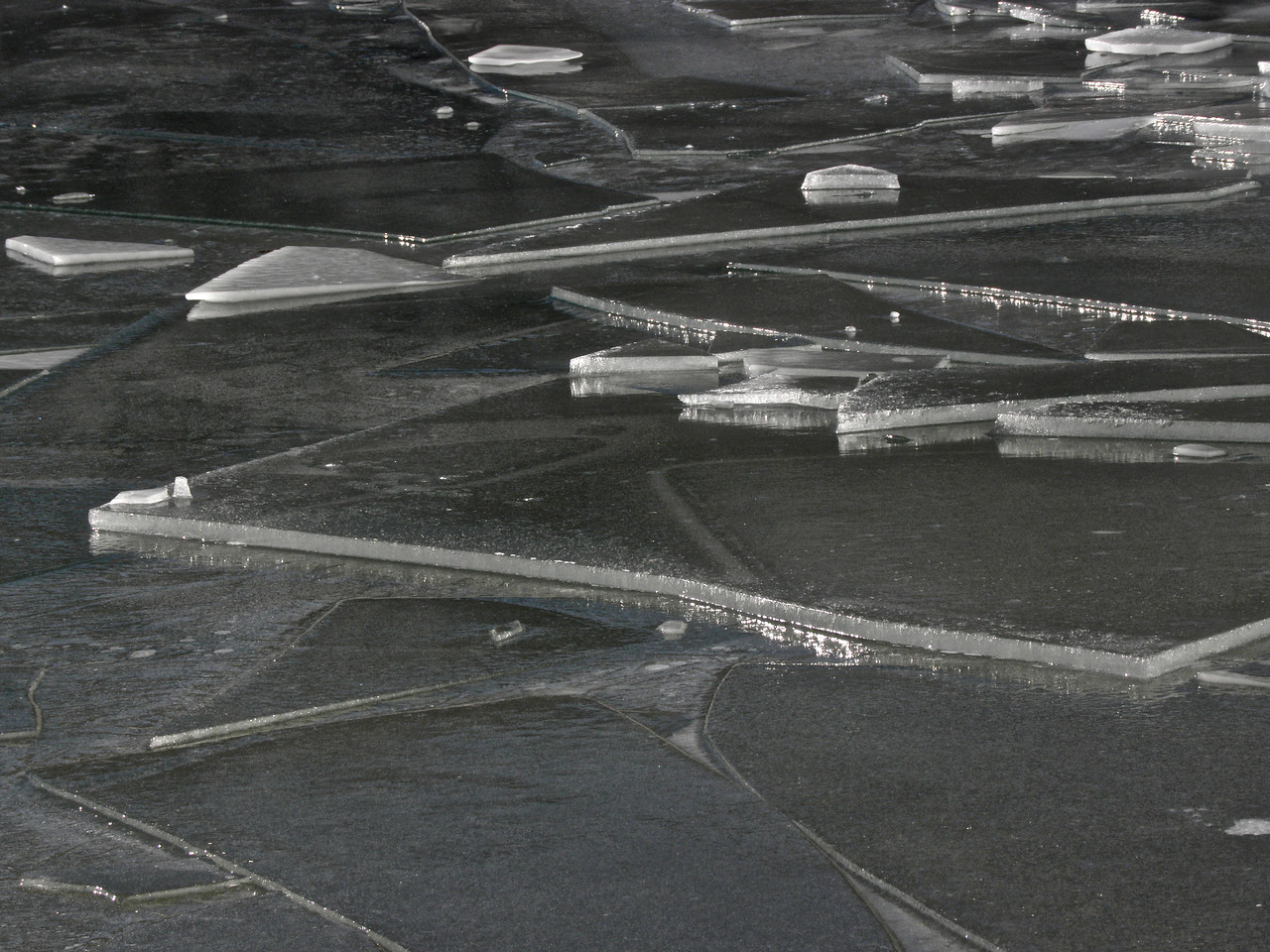Plates of ice stacked by a strong wind on Soda Lake