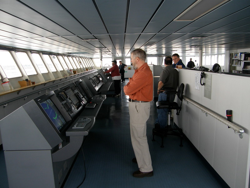 It was all business on the bridge; but when the times were right, we asked a 1,000 questions. Here, the captain was telling Bill, Oh, she gets about 100 gallons of fuel per mile.