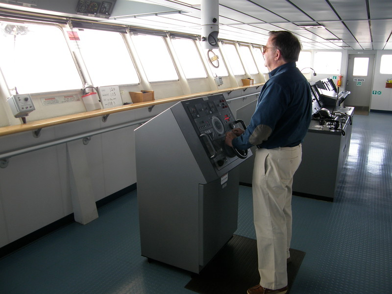 First mate Bill at the helm.