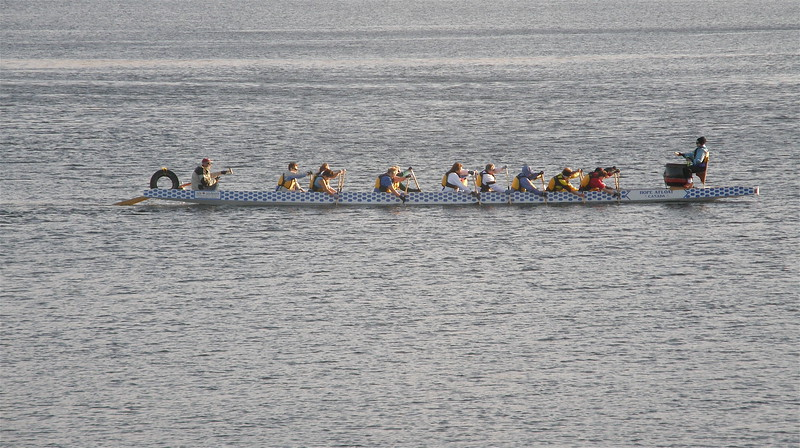 Rowing club out for a sunset spin. We could hear the drum (bow) setting the pace.