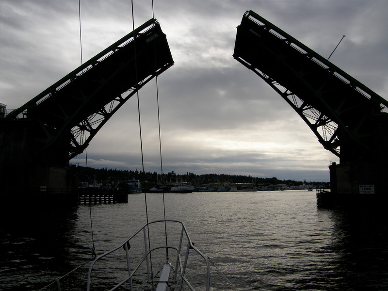 Draw bridge on the way to open water in Puget Sound