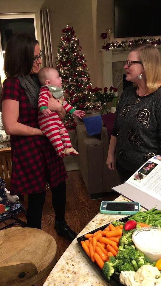Julia visited Amy & Shawn on Christmas eve. We played the incredible arrangement  of the children's song, ABC, that she and her husband, Kerry, _wrote and recorded_ for Ben. Shawn caught the moment as she started singing along. The sheet music is on the next three pages. Enjoy!
