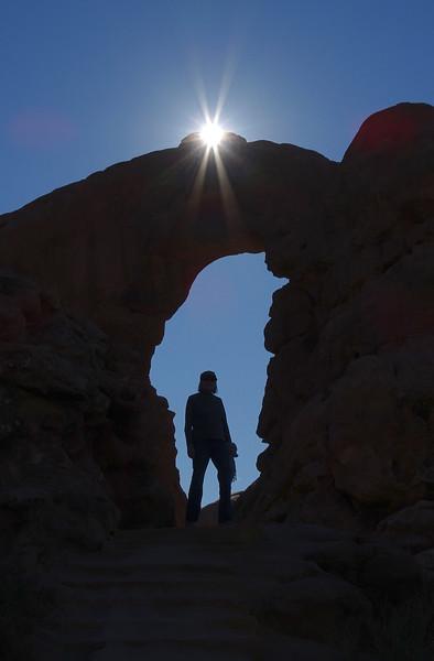 Deda, sun, arch- Arches NP