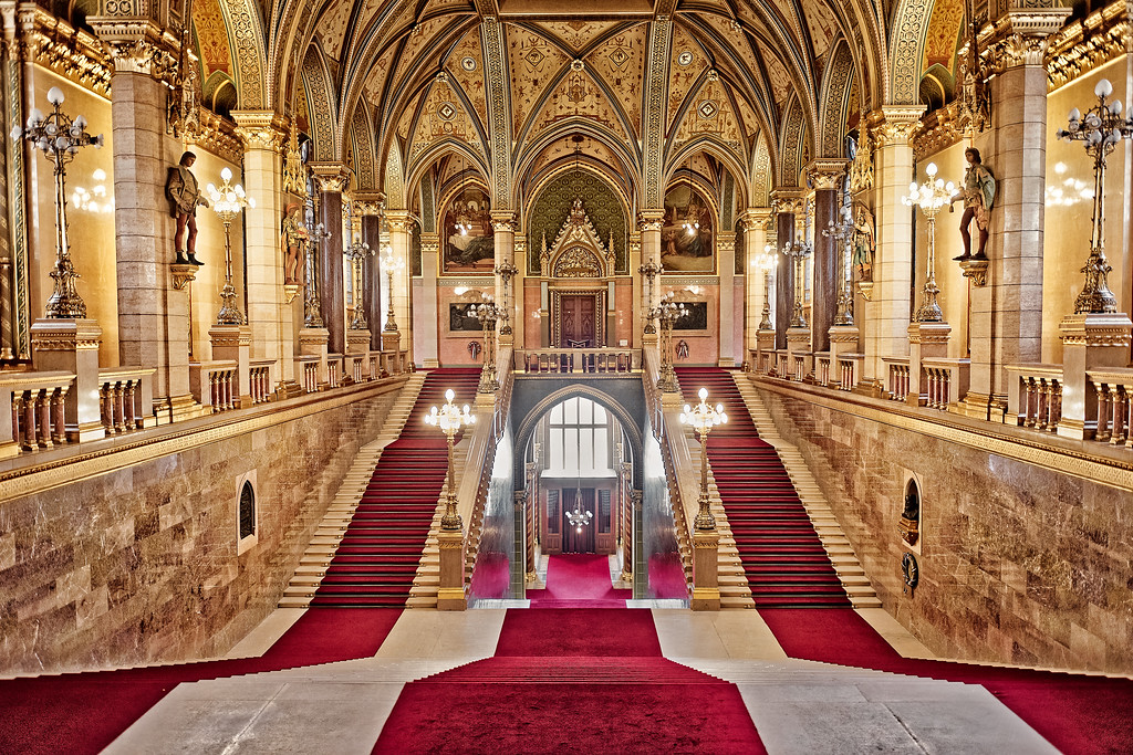 The Main Hall of the Hungarian Parliament Building in Budapest