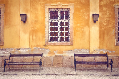 Benches outside of Kiscelli Museum