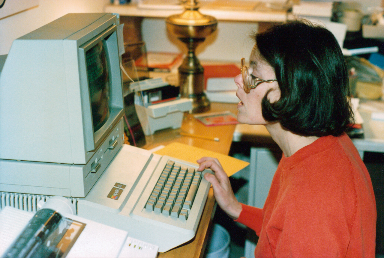 Remember these? That's an Apple IIE, our first computer. It was nothing more than a word processor with a flashing green cursor, but it was amazing to us, the carbon copy and mimeograph generation. Floppy disks on the right, perforated-track printer on the left.