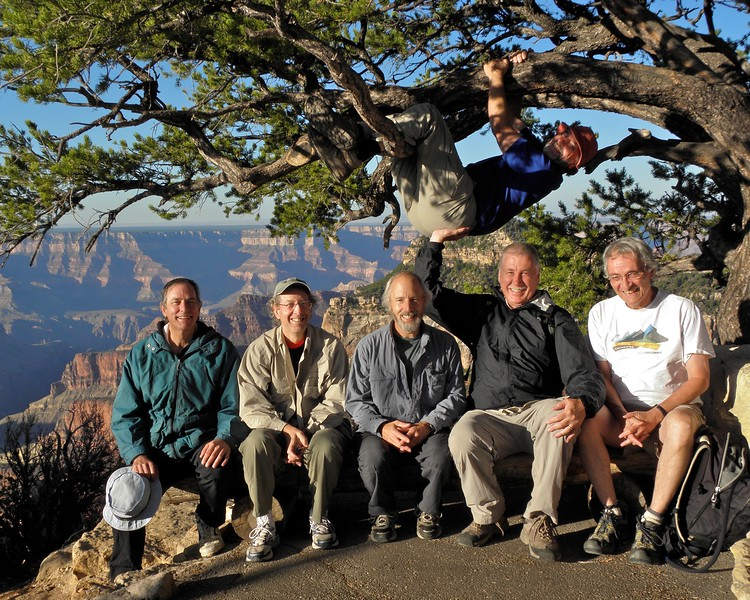 My men's group, still a bit giddy from a Grand Canyon sunrise. The guy in the tree? That's Rick, the elder of our group.