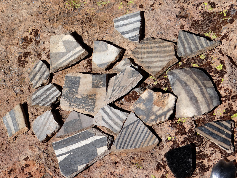 Pottery shards at an ancient Jemez Indian ruin in NM.