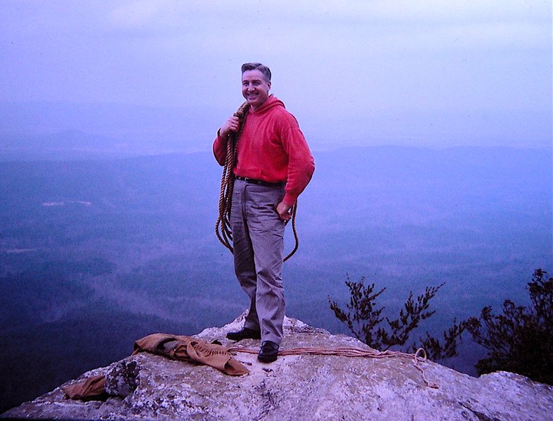 This is one of my favorite pictures of my dad. He taught me how to rappel on this cliff on Cheaha Mountain in Alabama. See that rope on his shoulder?