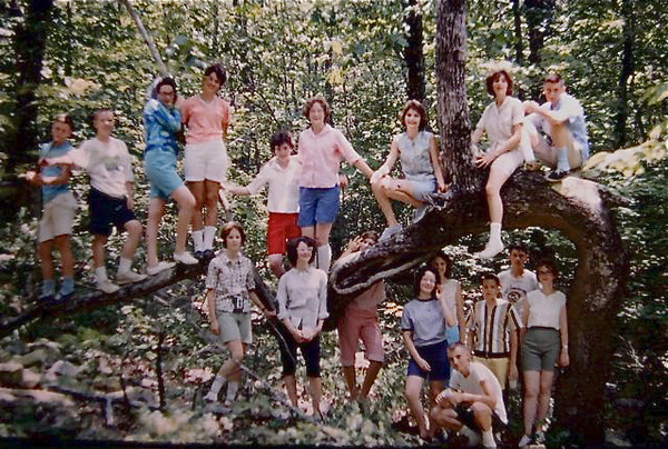 A few pictures of trees- I call this unusual one The Cheaha Tree- it's on the trail out to Pulpit Rock on Cheaha Mountain in Alabama. My dad loved to pose church youth groups on it. This was probably 1965.