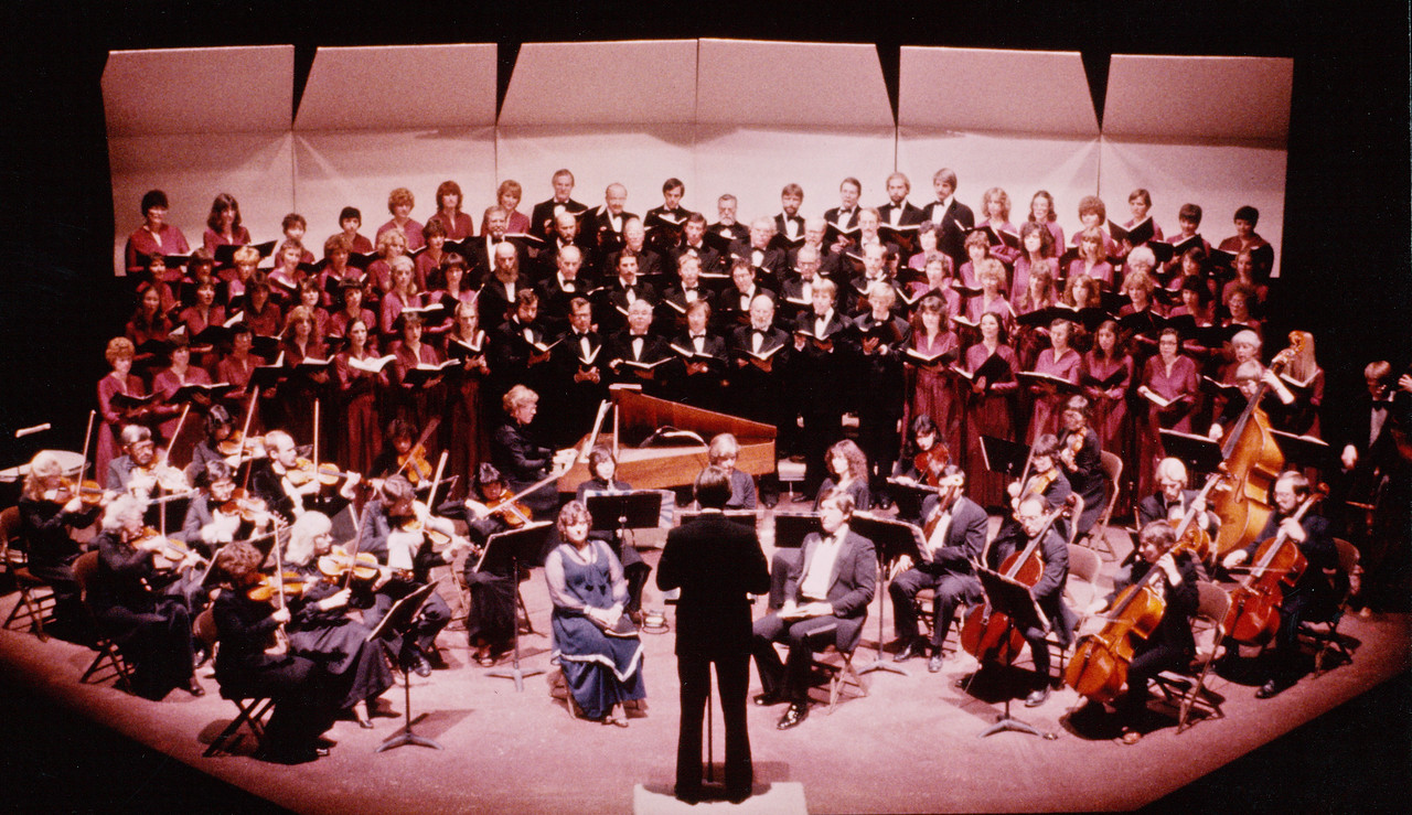 I think the Arvada Center Chorale was singing a Handel Chandos Anthem in this photo from the 80s. What a crew- great memories!