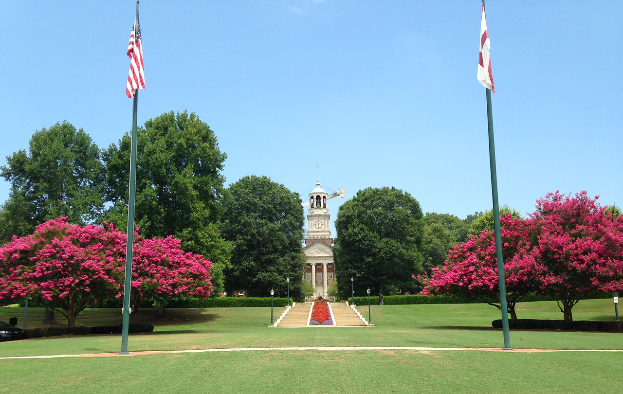 The beautiful campus of Samford University, where Deda and I met. That's the library- ask me sometime about the pre-dawn morning Allen and I fell asleep on the steps in our underwear.