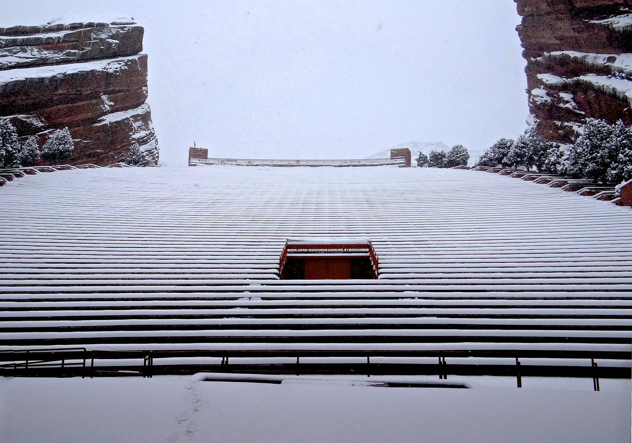 For those of you who have attended a concert with 10,000 other people at the incomparable Red Rocks Amphitheater - this is what it looks like from the stage in a snowstorm.
