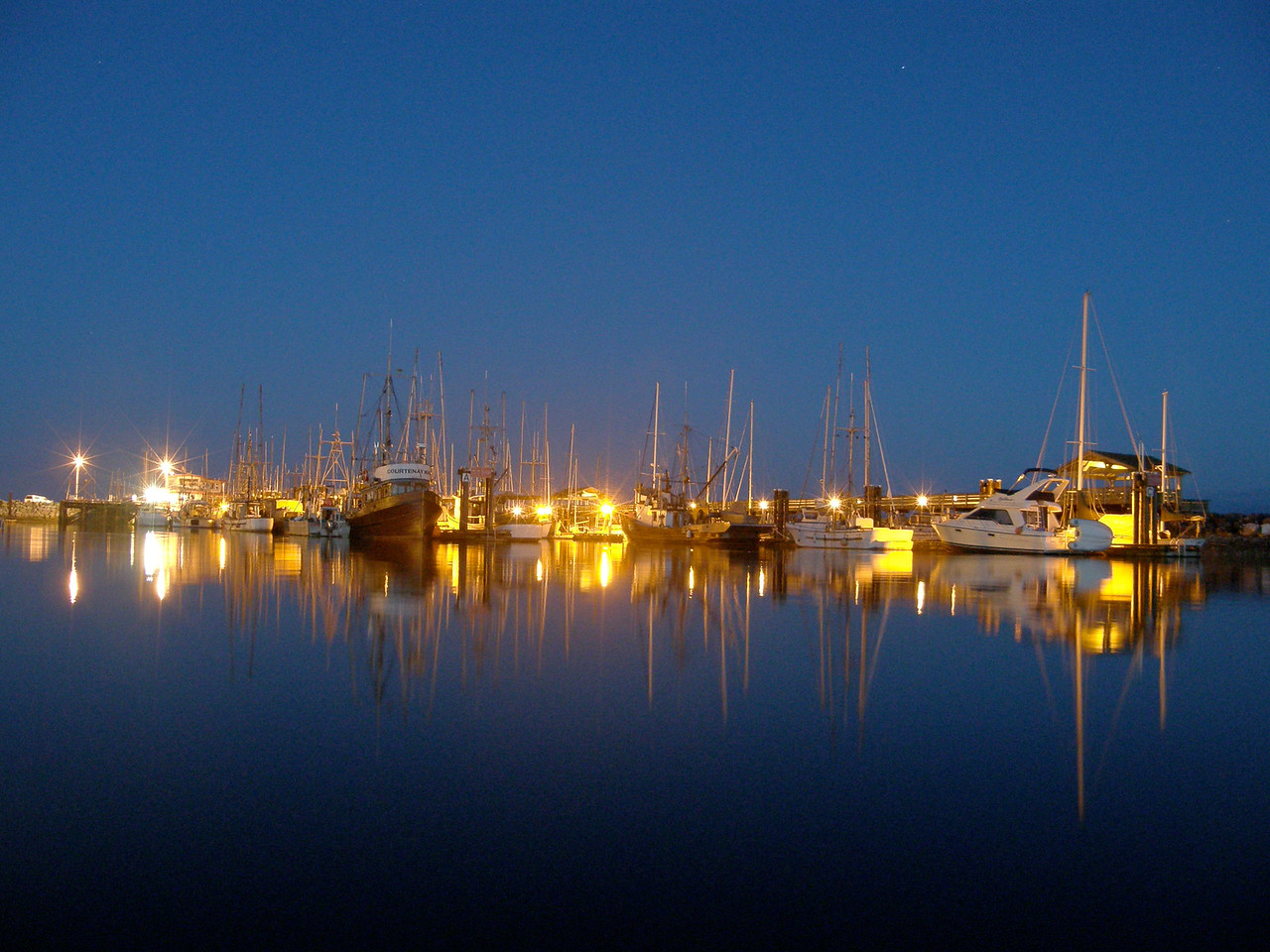 Tranquil British Columbian marina night scene