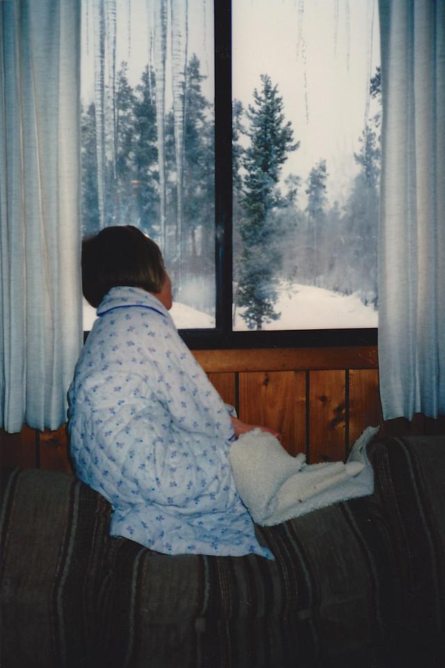 Sarah mesmerized by the snow