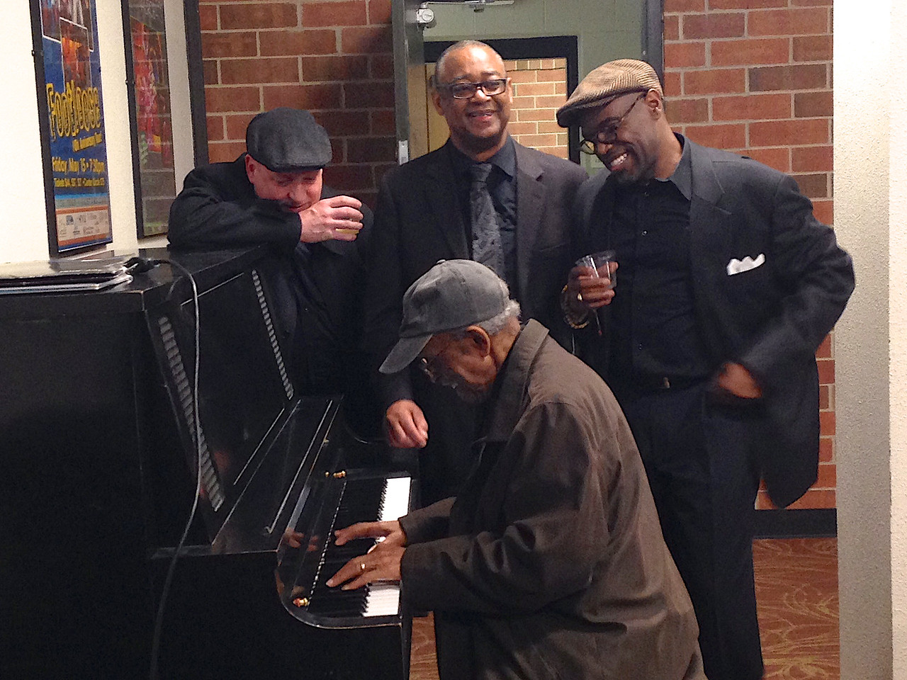Deda's sis, Terri, captured this great moment of members of the Dizzy Gillespie Big Band having fun backstage after the concert. This was at Amy's UNC Jazz festival in April, 2017.