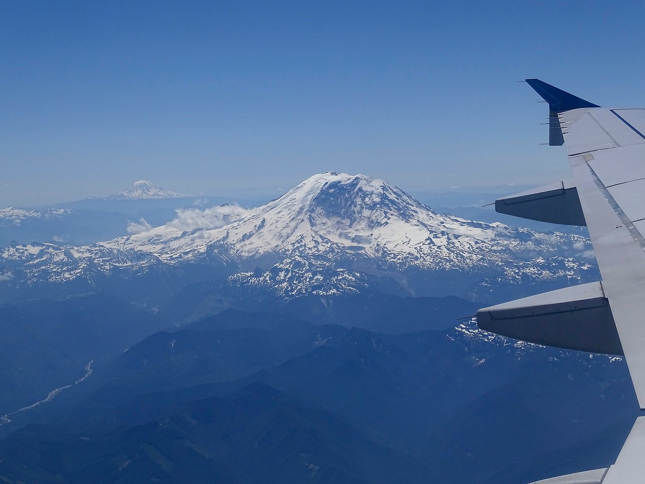Seeing Mt Ranier (and Mt Adams to the left) from the plane window is always a thrill.