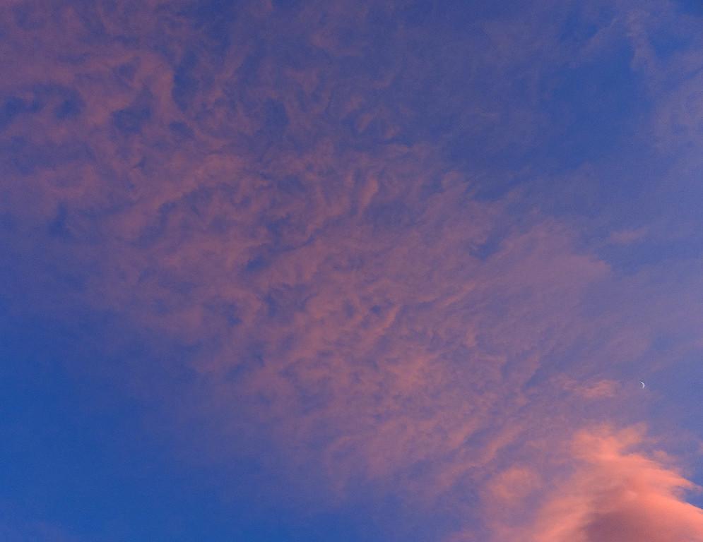 Marbled sky, shy moon