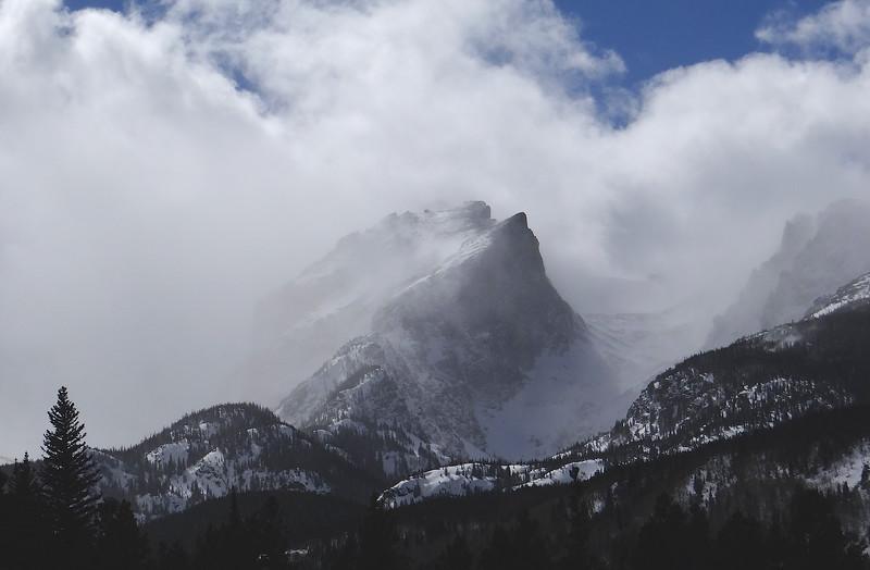 Hallett Peak in a howling blizzard, Rocky Mtn Natl Park