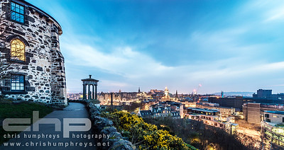 Dusk photograph of view over Edinburgh from Calton Hill