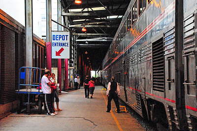 We made a stop in Milwaukee, Wisconsin and they let us stretch our legs a bit. That means SMOKE BREAK to the smokers riding the train - there is no smoking anywhere on the train, which is nice!