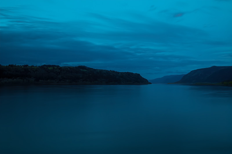 Columbia River Gorge at Blue Sunset
