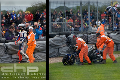 Jorge Lorenzo rues a costly mistake at Donnington Park, England. 2009 MotoGP Championship