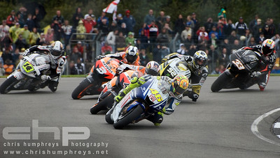 Valentino Rossi leads the charge at Donnington Park, England. 2009 MotoGP Championship