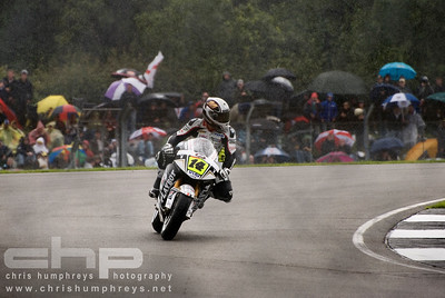 Randy De Puniet at a wet Donnington Park, England. 2009 MotoGP Championship