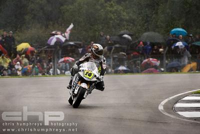Randy De Puniet at a wet Donnington Park, England. 2009 MotoGP Championship