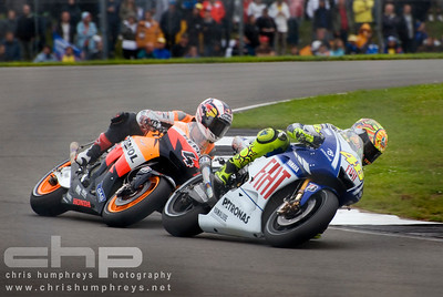 Front runners Valentino Rossi and Andrea Dovizioso at Donnington Park, England. 2009 MotoGP Championship