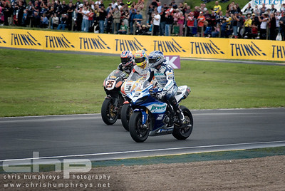 Race 1 podium - Leon Camier, Stuart Easton and Josh Brookes, Knockhill British Superbikes, Scotland 2009