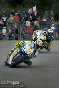 Valentino Rossi leads James Toseland at Donnington Park, England. 2009 MotoGP Championship